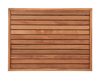 Burmese Teak Bath or Shower Mat with Narrow Edge Framing