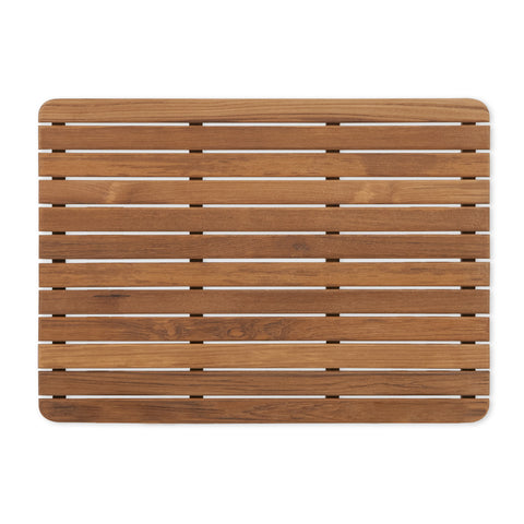 "25"" x 18"" Teak Bath or Shower Mat with Rounded Corners"