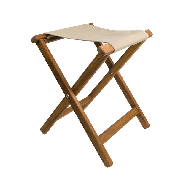 A top-of-the-line camp stool. Frame is available in Plantation or Burmes Teak and canvas seat has 3 color options.