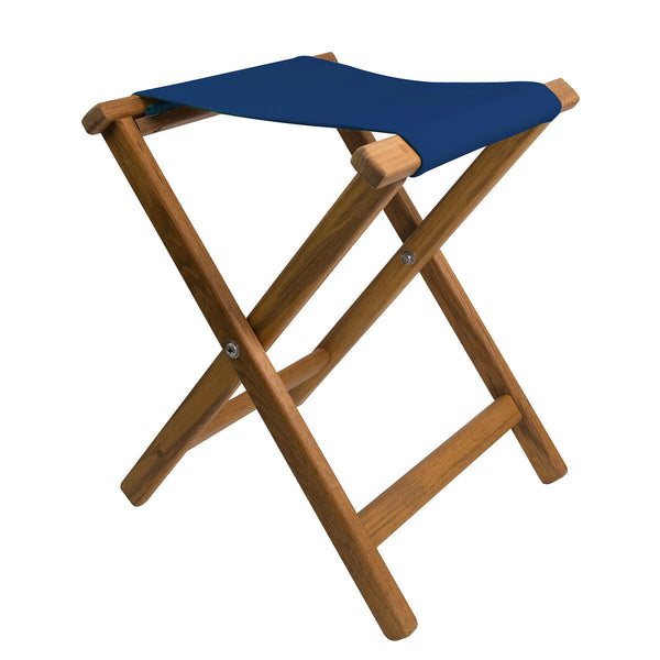 Folding Teak Camp Stool with Canvas Seat