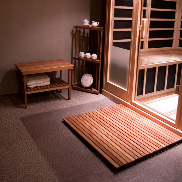 Accent your home spa or sauna with beautiful teak benches, teak mats and teak accessories from Teakworks4u