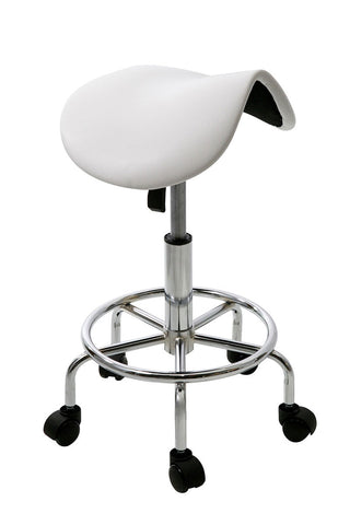 White Hydraulic Saddle Stool