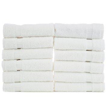 "12 PIECE LUSH VELOUR WHITE HAND TOWELS 11"" X 18"""