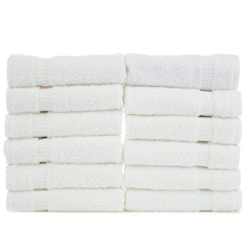 "12 Piece Lush Velour White Hand Towels 16"" X 27"""