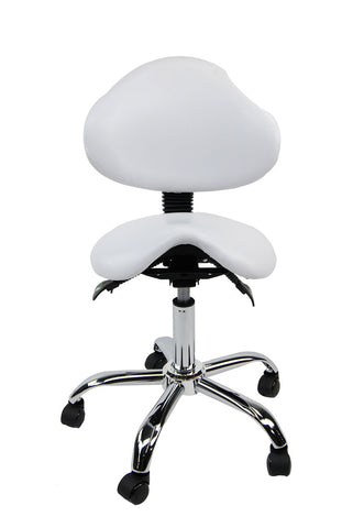White Saddle Stool w/ Backrest