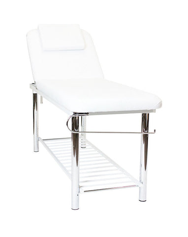 Metal Massage Table - White Upholstery