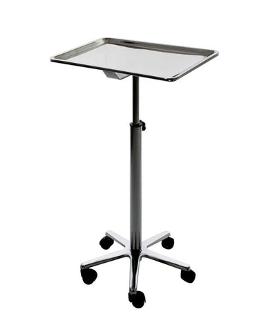 TRAY STAND ON WHEELS WITH REMOVABLE ALUMINUM TRAY