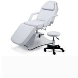 White Hydraulic Massage Table with Spa Stool