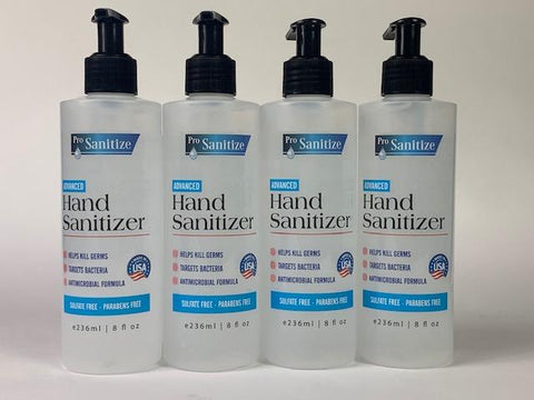 8 fl Oz Hand Sanitizers, pack of four (4)