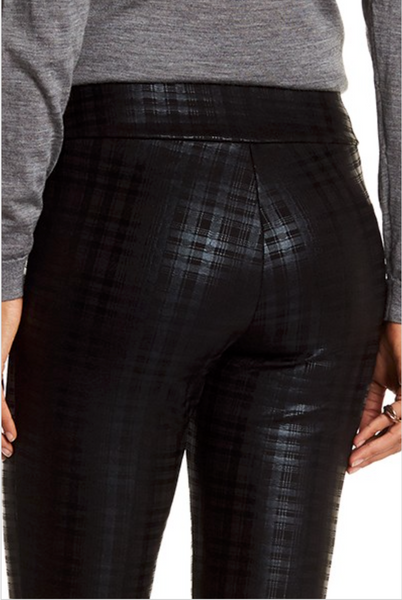 Scuba Straight Leg Black Plaid Pattern Pant