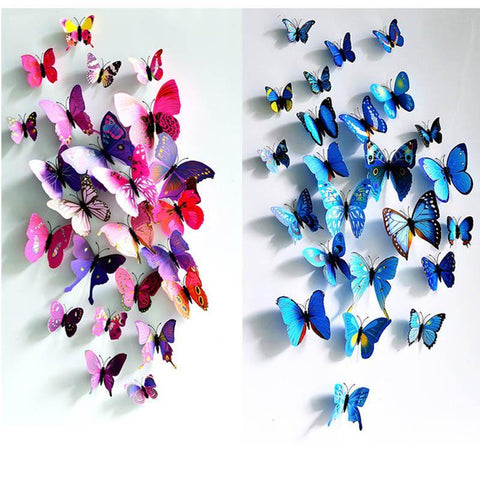 24pcs. Beaufiful 3D Butterfly Fridge Magnets Wall Sticker Table Curtain Home Decoartion Wedding Room Deco Party Supplies
