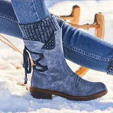Warm Boots Autumn Winter Vintage Flat Lace Up  Shoes Snow Boots Knitting Patchwork Female
