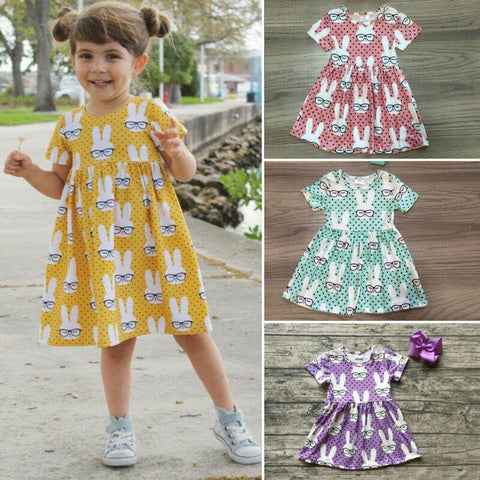 Pudcoco US Stock 1-6 Years Baby Summer Dress Toddler Baby Kids Girl Dress Sleeveless Easter Rabbit Bunny Tutu Dress Clothes