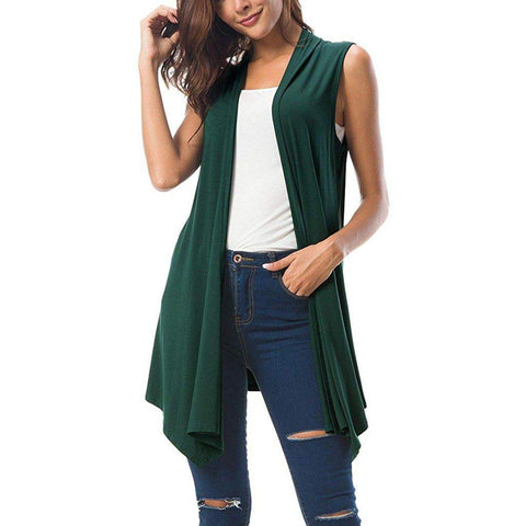 Summer  Draped Open Front Cardigan Vest Blouse Ladies Solid Casual Cover up