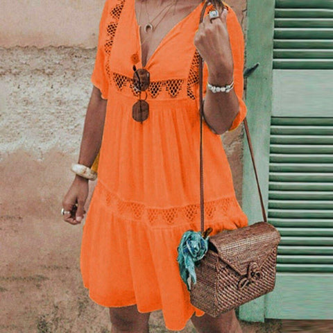Boho Dress V Neck Hollow Dress Short Sleeve Party Beach