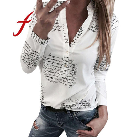 Letters Printing Blouses Fashion Ladies Chic V Neck Button Long Sleeve Shirt Tops