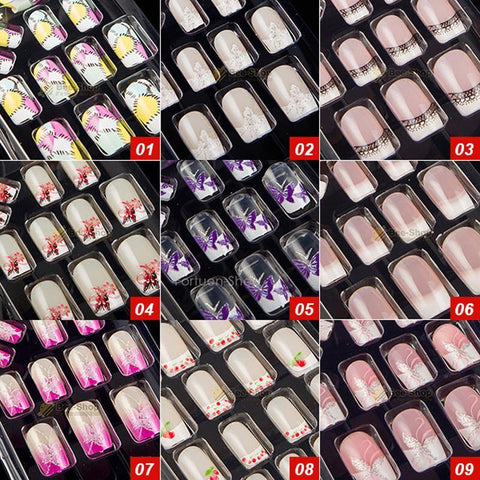 27 Style Options 24pcs Per Set Acrylic Full Cover Nail Tips False Nail Art With Glue Artificial Pre Designed Fake Nail Tips