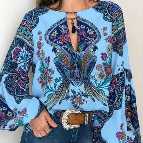 Bohemian Clothing Blouse Shirt Vintage Floral Print Tops
