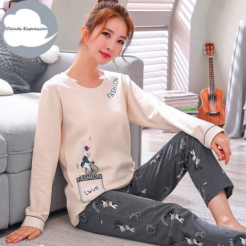 Winter Sleep Lounge Pajama Long Sleeve Top + Long Pant Woman Pajama Set Cartoon Pajamas Cotton