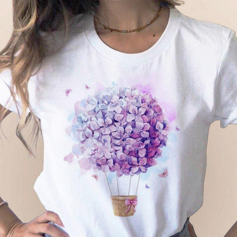 Short Sleeve Floral Flower Fashion Lady T-shirts Top