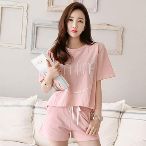 Pajamas Set Summer Cute Strawberry Short Sleepwear Girls Comfortable Home Clothes