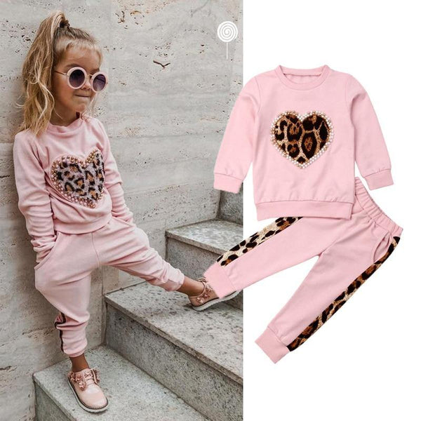 Girls Winter Clothes Sets Pink Long Sleeve Leopard Tops Long Pants Outfit Tracksuit
