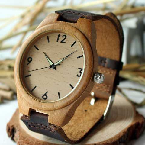 Men Wooden Wristwatch Hand-craft Watch Luminous Hands with Genuine Leather Strap RT004