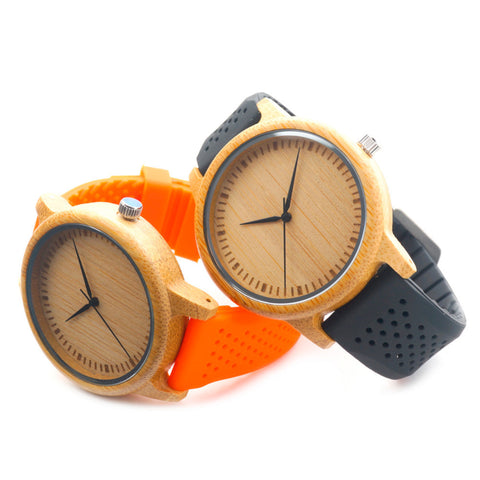 Brand Fashion Mens Quartz Analog Wooden Watch Casual Male Business Watches with Colorful Silicon Band