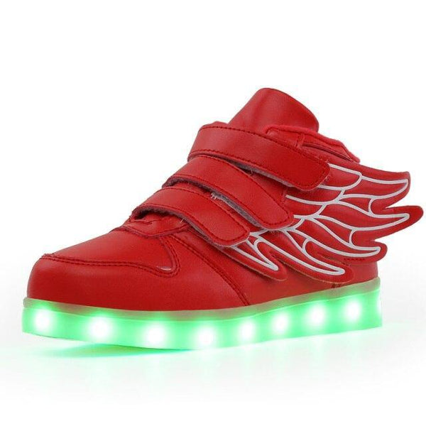 2018 Fashion Blue USB Charging Led Children Shoes With Light Up Kids Casual Boys&Girls Luminous Sneakers Glowing Shoe Hook&Loop