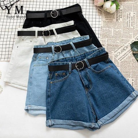 All Match Sashes Casual Women Denim Shorts Crimping High Waist Slim Summer Jeans Shorts
