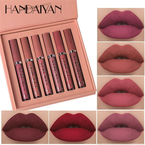 6Pcs/set Matte Lip Gloss Set Liquid Lipstick Waterproof Long Lasting Moisturizing Lipstick
