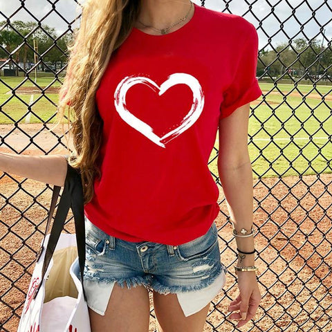 Hearts T-shirts Casual Harajuku Love Printed Tops Tee