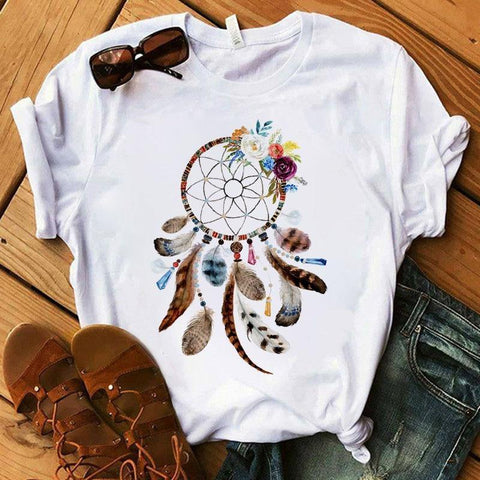 T-shirt Flower Dreamcatcher T-shirt Harajuku O-neck top women's Kawaii Street