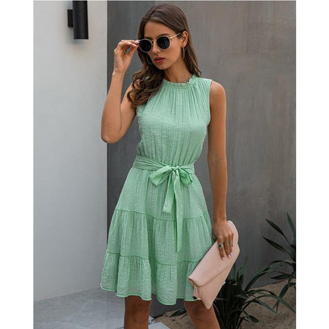 2020 Summer Sweet Pleated Dress A-Line Women Sashes Dress Sleeveless Pure Color Mini Sundress Female Beach Dress Vestido Verano
