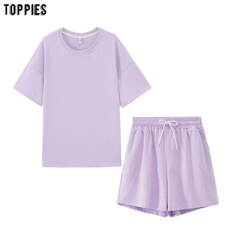 Tracksuits Two Peices Set Leisure Outfits Cotton Oversized t-shirts High Waist Shorts Candy Color
