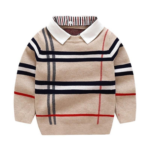 Boy Clothes Autumn Winter Warm pullover Top Long Sleeve Plain Sweater Fashion Knitted