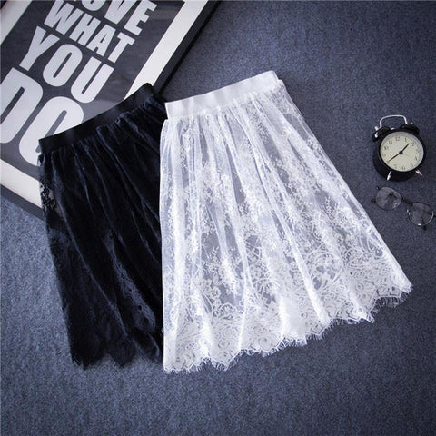Women Sexy Lace Skirts  Fashion Solid Casual Mesh tulle skirt  Hollow Out short Pencil Elegant  Black White Skirt D6