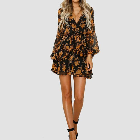 Paris Girl Sexy Summer Autumn Women Chiffon Dress See Through Long Sleeve Floral Printed Dresses V Neck Short Mini  Female