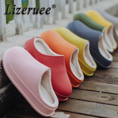 Women EVA Slippers Winter Warm Clogs Women Suede Plush House Slippers Indoor Outdoor Lovers Cotton Memory Foam Zapatillas Mujer