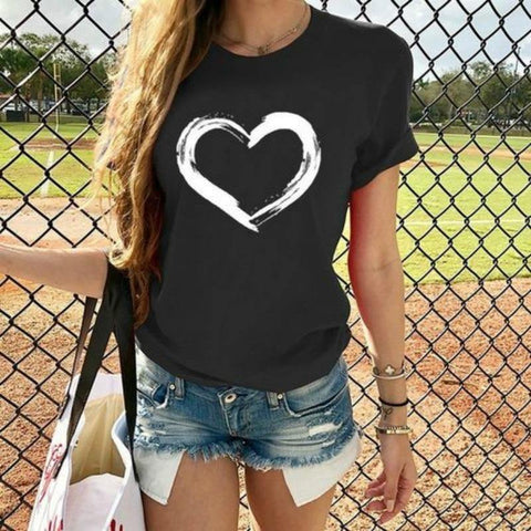 Heart Print T Shirt Women Short Sleeve O Neck Loose Tshirt