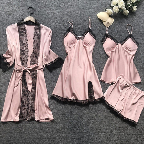 Pajamas Sets Satin Sleepwear Silk 4 Pieces Nightwear