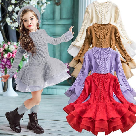 Winter Knitted Chiffon Girl Dress Christmas Party Long Sleeve Children Clothes Kids