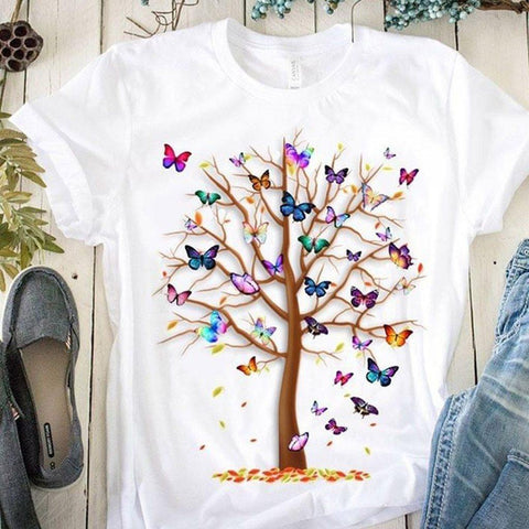 Butterfly Tree Print Harajuku Summer Tshirts Casual Round Neck