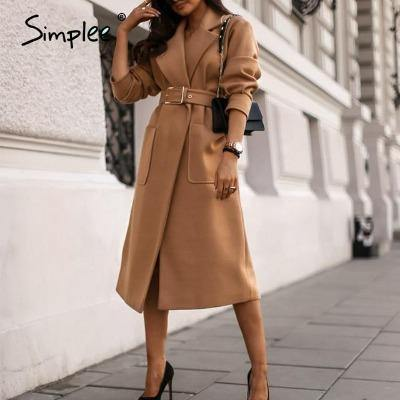 Simplee Office lady camel autumn winter female wool coat High street fashion long sleeve coat Elegant pocket outwear with belt