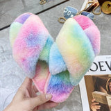 House Slippers Faux Fur Fashion Warm Shoes Woman Slip on Flats Female