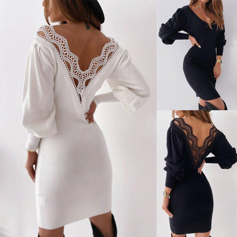 Fashion Lace Sexy Backless Short Dress Ladies Long Sleeve V-Neck Bodycon Dress Women Casual Evening Party Dress Vestido de fest