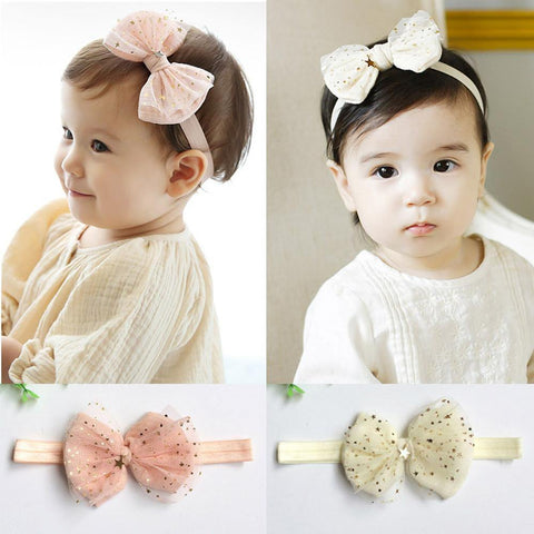 Elastic Hairband Baby Headband Lace Bows Stars Printed Turban Knot Head Wraps for Infant toddler girls Photo Prop 1pc HB051
