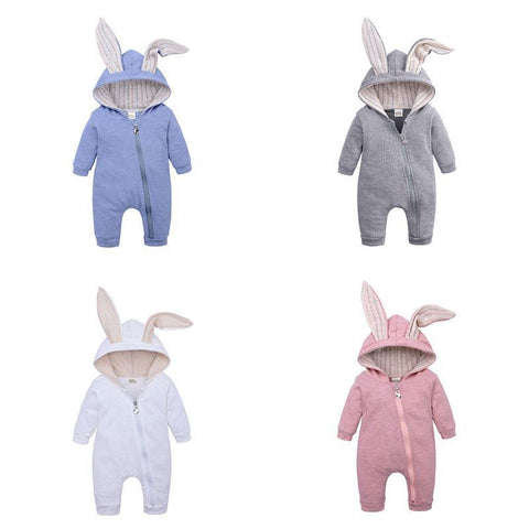 Baby Girl Rabbit Ear Romper Boy Jumpsuit Infant Outfits Kid Zip Warm 3D Bunny Long Sleeve Clothes Kids Rabbit Overall