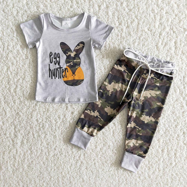 Wholesale High Quality Toddler Birl Clothes Short Sleeve Top And Pants 2pieces Kids Fashion Rabbit Cartoon Outfits For Easter