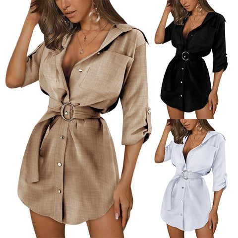 2021 Women Dress Summer Female Cotton Linen Office Lady Fashion Wild V-Neck Solid Color Button Sashes Mini Elegant Clothing
